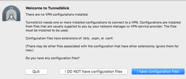 Figure 3: There are no VPN configurations installed