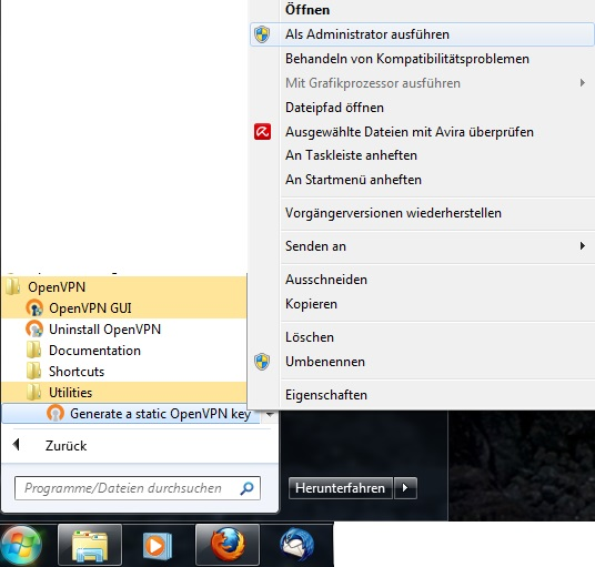 Figure 8: OpenVPN in the start menu