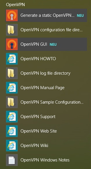 Figure 7: OpenVPN in the start menu