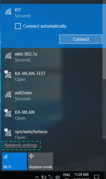Figure 8: Wifi Networks on Windows 10