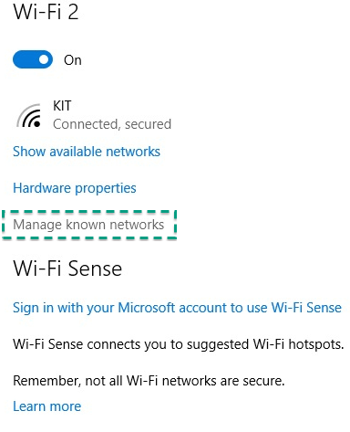 Figure 9: Network settings on Windows 10