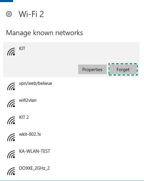 Figure 10: Forget Wifi network